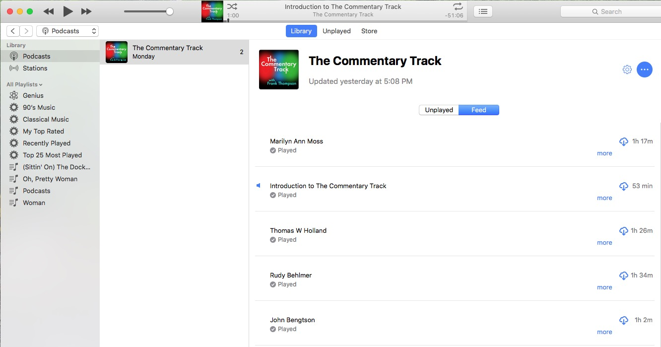 The Commentary TRack on iTunes